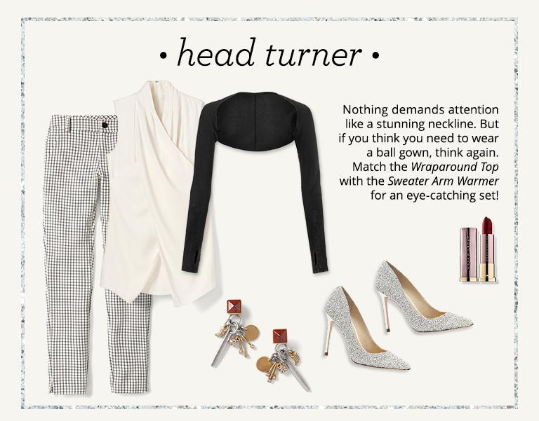 b49d04fd3e817 Featured cabi items: Windowpane Trouser, Wraparound Top, Sweater Arm  Warmer, Pyramid Charm Earrings